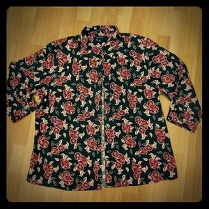 Land's End Black/Red Floral Print Button-Up, Sz 18